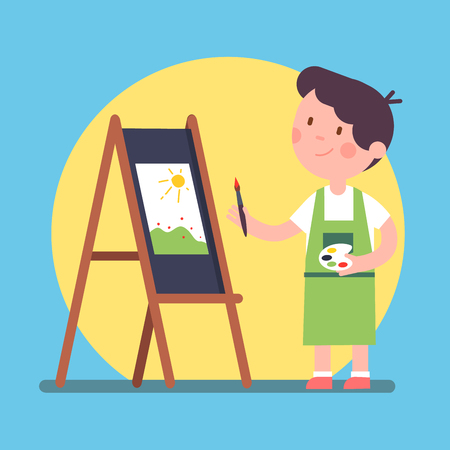 Smiling kid artist painting a piece of art on a canvas. Standing near easel and holding palette and brush. Color paint lesson. Modern flat style vector illustration cartoon clipart.