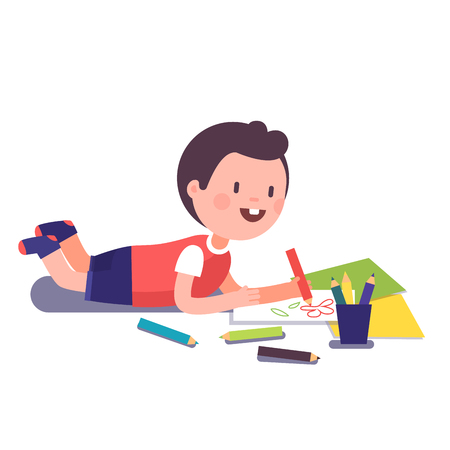 Happy Smiling Kid Painting And Coloring With His Crayons Lying On A Floor Modern Flat