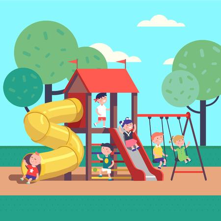스윙, 슬라이드, 튜브 및 하우스와 함께 도시 공원 놀이터에 게임을 아이의 그룹입니다. 행복한 어린 시절. 현대 평면 스타일 벡터 일러스트 레이 션 만