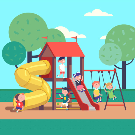 Group of kids playing game on a town public park playground with swings, slides, tube and house. Happy childhood. Modern flat style vector illustration cartoon clipart. Vectores