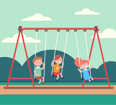Three kids boys and girl swinging on a swing in public park together. Modern flat style vector illustration cartoon clipart. Stock Illustratie