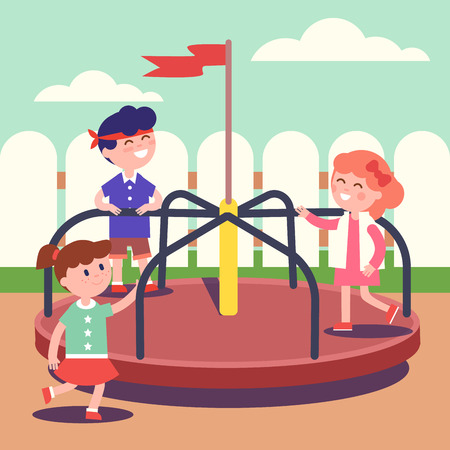 roundabout: Group of kids playing game on rotating roundabout carousel at the playground. Childhood happiness and smiling faces. Modern flat style vector illustration cartoon clipart.