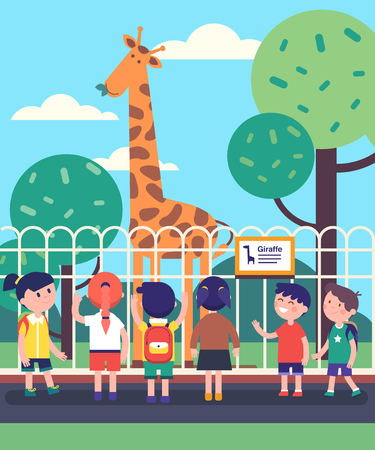 Group of kids watching giraffe at a zoo excursion. School or kindergarten students on filed trip. Modern flat style vector illustration cartoon clipart.