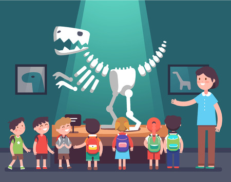 Group of kids watching tyrannosaurus dinosaur skeleton at archeology museum excursion with a teacher. School or kindergarten students on filed trip. Modern flat style vector illustration cartoon. Vettoriali