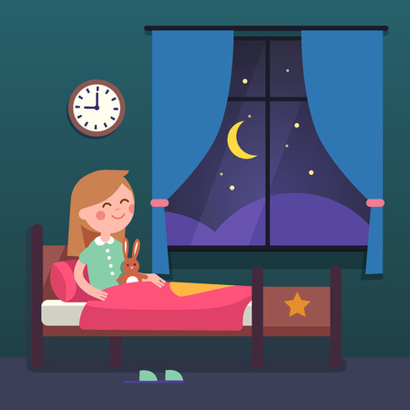 Girl kid preparing to sleep bedtime in her bedroom bed. Good night time. Modern flat style vector illustration cartoon clipart. Çizim