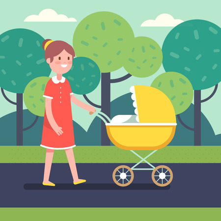 smiling child: Smiling mother with her baby child in stroller walking in a public park. Modern flat style vector illustration cartoon clipart.