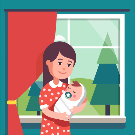 swaddle: Mother holding swaddled baby boy sucking nipple in her loving hands. Modern flat style vector illustration cartoon clipart.