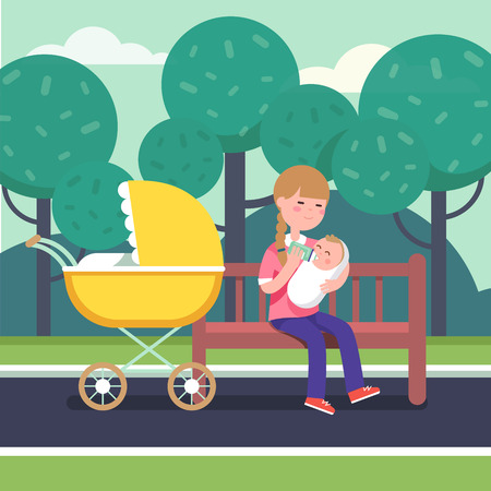 swaddle: Mother holding swaddled baby in her loving hands and feeding him with bottle milk formula. Sitting on a park bench with stroller. Modern flat style vector illustration cartoon clipart.