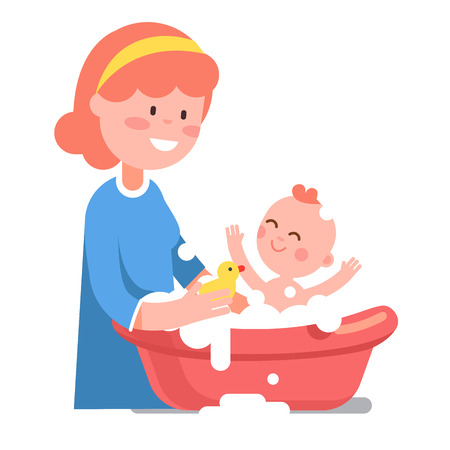mother and baby: Caring smiling mother washing her baby child in washbowl. Playing with little yellow rubber duck toy. Modern flat style vector illustration cartoon clipart. Illustration