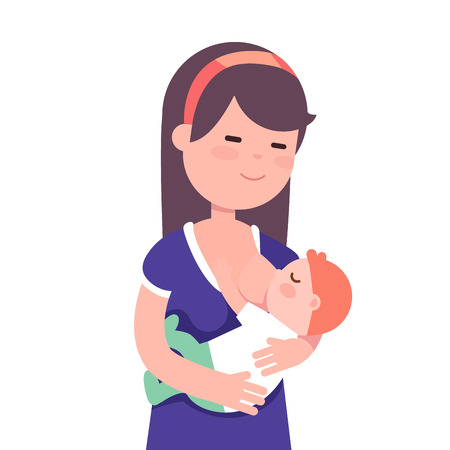 Beautiful mother breastfeeding her baby child holding him in her caring hands. Modern flat style vector illustration cartoon clipart. Illustration