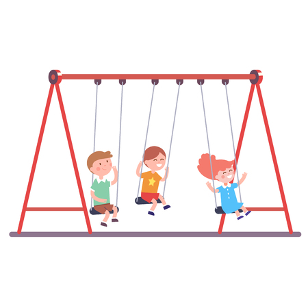 swinging: Three kids boys and girl swinging on a swing together. Modern flat style vector illustration cartoon clipart.