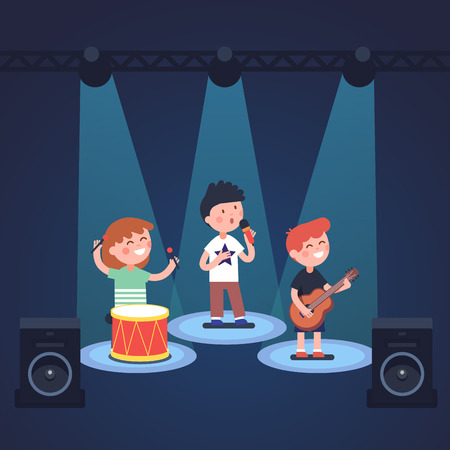 spot lit: Kids music band playing and rocking at spot light lit stage festival. Glowing young stars. Modern flat style vector illustration cartoon clipart.