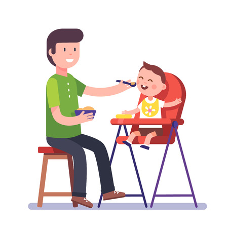 father and son holding hands: Father feeding his baby son sitting on kids eating chair. Holding hands with spoon going to mouth. Modern flat style vector illustration cartoon clipart. Illustration