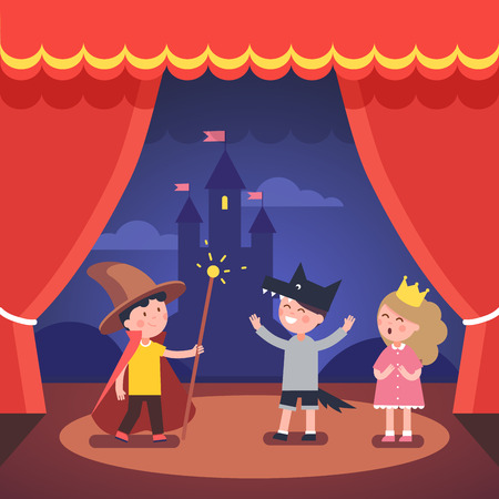 Kids theater performance show on scene with red curtains and fairy tale castle scenery. Modern flat style vector illustration cartoon clipart.
