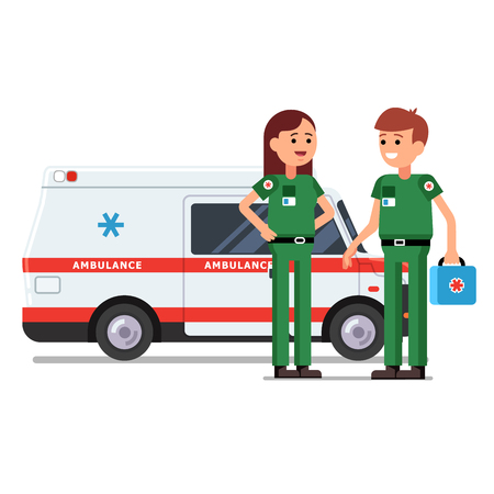 Two paramedics rescue team workers standing in front of ambulance car. Doctor holding first aid kit bag in hand. Flat style vector illustration. Isolated characters on white background. Vettoriali