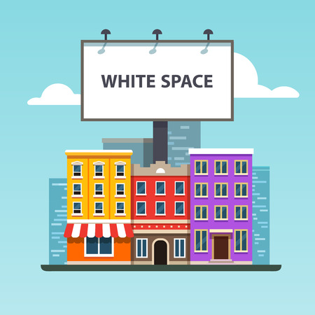bill board: Large blank urban billboard with copy space text standing high over city street buildings. Flat style vector illustration template.