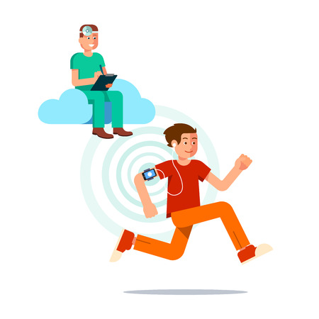 heart monitor: Young man running and using smartphone as a fitness tracker. Doctor using cloud computing and AI is gathering health data to provide better healthcare. Flat style vector illustration template. Illustration