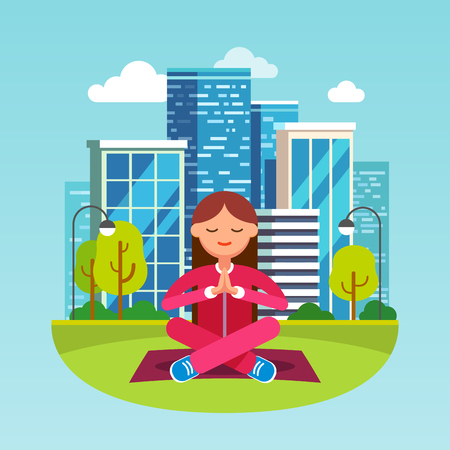 woman pose: Young woman meditating in contemplation sitting on the grass in lotus yoga pose at the big city park. Girls hands are folded in peaceful namaste gesture. Flat style character vector illustration.