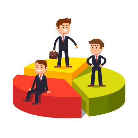 Market competition. Competing business sectors concept represented by pie chart with standing and sitting on their sectors businessman.