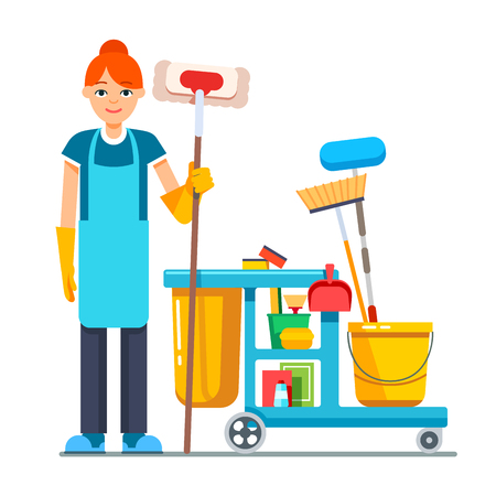 janitor: Professional cleaner woman with janitor cart full of supplies and equipment. Flat style vector illustration isolated on white background.