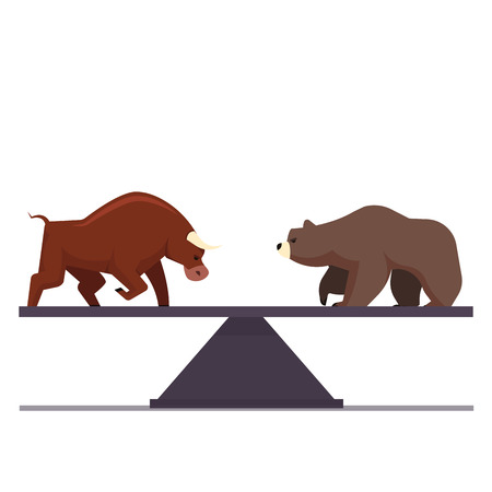 Stock market bulls and bears battle metaphor. Stock exchange trading business concept. Market equilibrium. Modern fat style vector illustration.