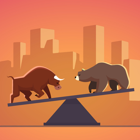 stockbroker: Stock market bulls and bears battle metaphor. Stock exchange trading business concept with city downtown sunset background. Modern fat style vector illustration.