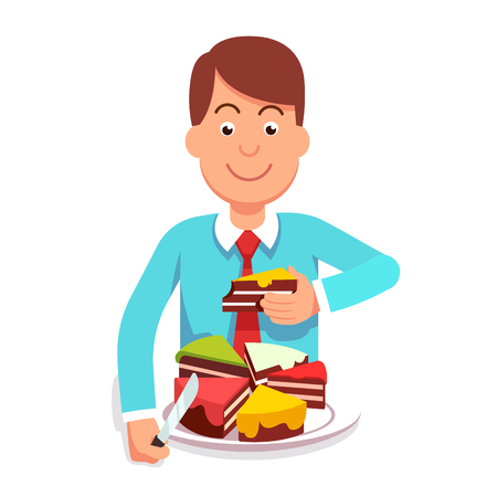 Corporate businessman or government clerk eating market shares pie segment of metaphoric cake chart. Corporation takeover or governmental regulation concept. Flat style vector character illustration. Illustration