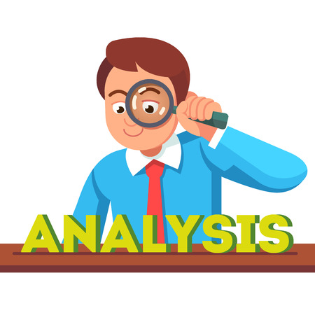 Business man looking at analysis word through magnifying glass. Financial analyst concept. Flat style vector character illustration.
