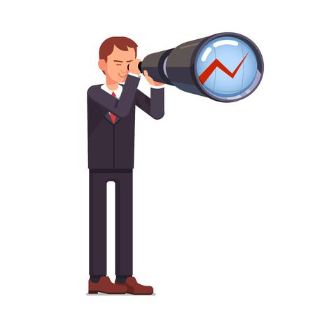 금융 투자 예측. 성장 차트에 망원경을 통해 앞서 찾고 비즈니스 남자 주식 시장 무역 브로커. 플랫 스타일 벡터 문자 그림입니다. 일러스트