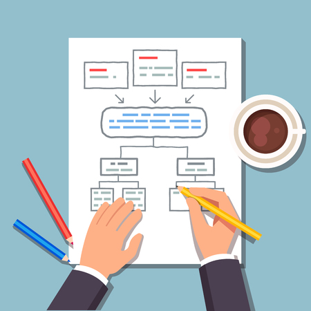 organisational: Business man drawing a block diagram plan while drinking his coffee. Strategic planning of business process. Flat style vector illustration.