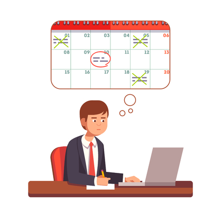 young business man: Business man thinking and planning process. Young entrepreneur planning his month on a laptop computer. Flat style vector character illustration. Illustration