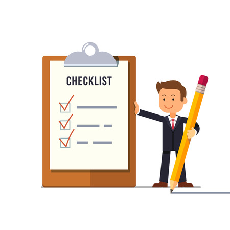 marked: Little business man with marked checklist on a clipboard paper. Ticks on a paper check list. Manager with all tasks done. Flat style cartoon vector illustration.