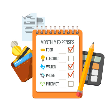 expenses: Monthly expenses planning checklist with receipts, wallet and calculator. Flat style vector icon illustration.