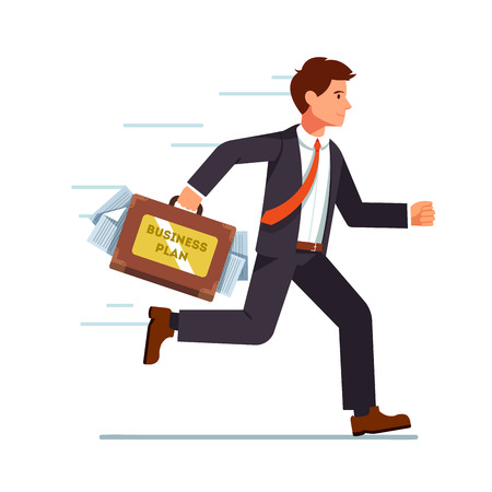 hurrying: Businessman running with business plan in his suitcase. Hurrying fast with his ideas to an investor meeting. Flat style vector character illustration.