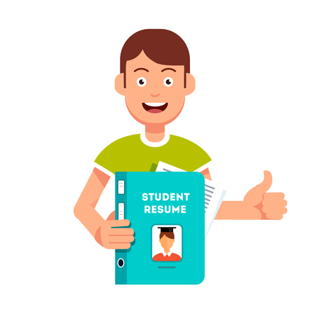 making face: Future student holding and showing his resume and submission papers folder. Guy with smiling face making thumb up gesture. Flat style vector character illustration. Illustration