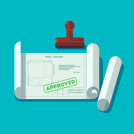 House planning technical blueprints received permission. Building plan approved stamp. Flat style vector illustration.