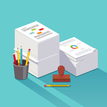 disarray: Heap of research documents. Two stacked paper piles accompanied by official stamp, pens and pencils. Bureaucracy concept. Flat style vector illustration. Illustration