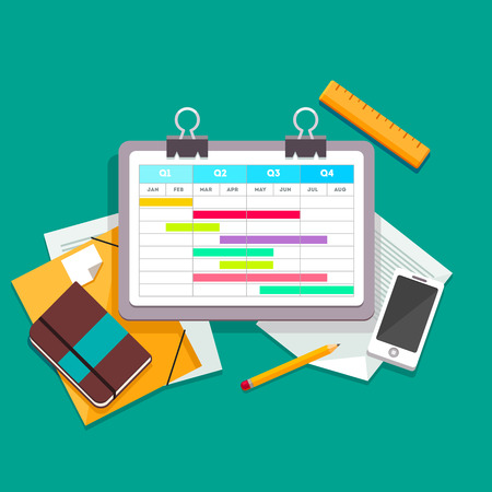gantt: Gantt chart planning process document on a paperclip lying on the desk next to other documents, files, phone and personal notebook. Flat style vector illustration. Illustration
