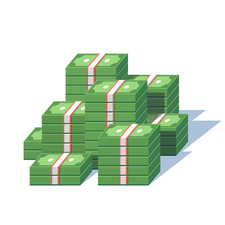 money stack: Money pile. Stacked packs of dollar bills. Minimal style flat vector illustration.