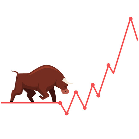 business metaphor: Stock exchange market bulls metaphor. Growing, rising up stock price. Trading business concept. Modern fat style vector illustration. Illustration