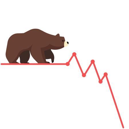 stockholder: Stock exchange market bears metaphor. Falling, declining down stock price. Trading business concept. Modern fat style vector illustration. Illustration