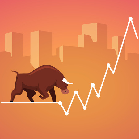 bullish: Stock exchange market bulls metaphor. Growing, rising up stock price. Trading business concept. Modern fat style vector illustration. Illustration