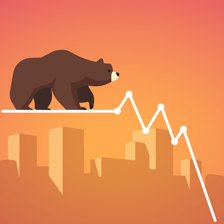 Stock exchange market bears metaphor. Falling, declining down stock price. Trading business concept. Modern fat style vector illustration. Illustration