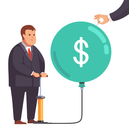 hand holding sign: Big fat corporation or financial power depicted as obese business man inflating a market bubble with dollar sign. Hand holding a needle ready to pop burst it. Flat style vector concept illustration.
