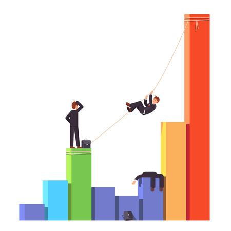 Businessman climbing up on a rope to a bar graph chart crossing startup death valley or economic decline and financial crisis. Competitor is dead. Business risks concept. Flat vector illustration. Illustration