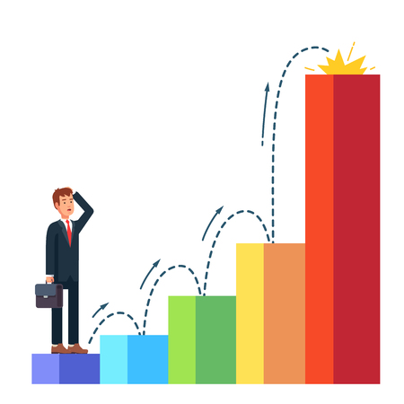 looking ahead: Business man planning his career growth with dotted line. Standing in the beginning of bar chart graph on the first column and looking ahead toward success. Flat style vector illustration.