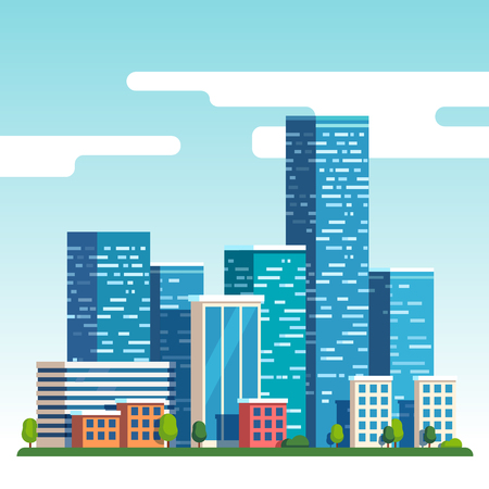 City downtown landscape with high skyscrapers piercing clouds in the sky. Flat style vector illustration. Illustration