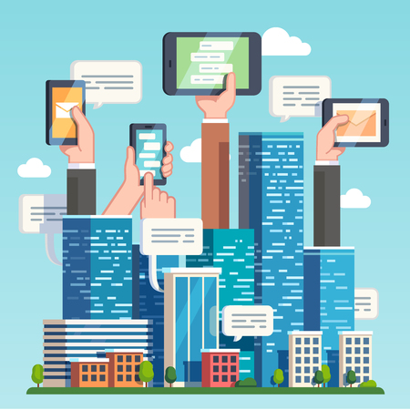 communications technology: City downtown communications. Urban area social networking via modern smart devices, phones and tablets. Skyscrapers and hands holding technology. Flat style vector illustration. Illustration