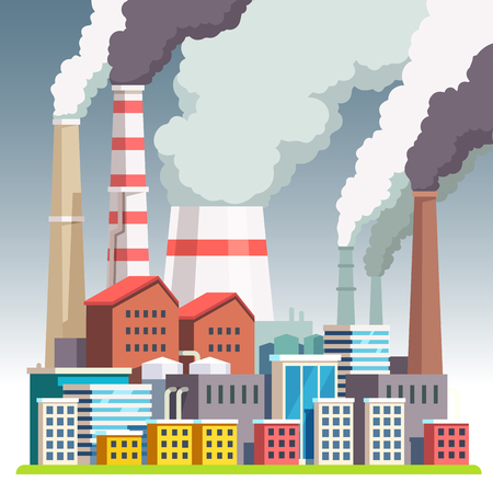 emissions: Smog polluted urban landscape. Highly polluted city with factory plants smoking towers and pipes. Environment contaminating carbon dioxide emissions. Flat style vector illustration.