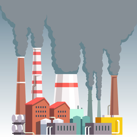 polution: Highly polluting factory plant with smoking towers and pipes. Carbon dioxide emissions. Environment contamination. Flat style vector illustration. Illustration